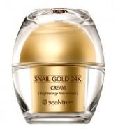 Крем питательный с муцином улитки и золотом SEANTREE Snail gold 24K cream 50г: фото
