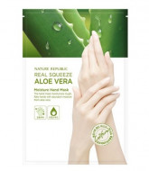 Маска для рук с экстрактом алоэ NATURE REPUBLIC REAL SQUEEZE ALOE VERA MOISTURE HAND MASK 14мл: фото